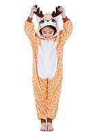 abordables -Enfant Pyjamas Kigurumi Renne Combinaison de Pyjamas Flanelle Orange Cosplay Pour Garçons et filles Pyjamas Animale Dessin animé Fête / Célébration Les costumes
