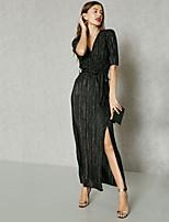 Недорогие -Жен. Классический / Уличный стиль Оболочка Платье - Однотонный, Шнуровка Выше колена
