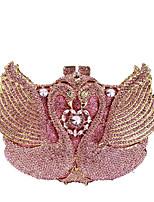 Недорогие -Жен. Мешки Сплав Вечерняя сумочка Кристаллы / С отверстиями Сплошной цвет Розовый