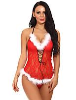 baratos -Mulheres Super Sexy Conjunto Roupa de Noite - Frente Única, Natal Sólido