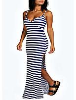 baratos -Mulheres Básico Algodão Delgado Calças - Listrado Azul e Branco, Estampado Cintura Alta Azul / Longo / Decote em V Profundo / Sexy