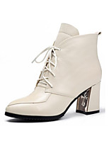 Недорогие -Жен. Fashion Boots Наппа Leather Осень Ботинки На толстом каблуке Закрытый мыс Ботинки Черный / Бежевый / Красный