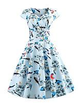 baratos -Mulheres Moda de Rua Manga Borboleta Bainha Vestido - Estampado, Geométrica Altura dos Joelhos