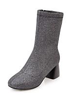 baratos -Mulheres Fashion Boots Cetim Inverno Minimalismo Botas Salto Robusto Ponta quadrada Botas Cano Médio Preto / Prateado / Vermelho / Festas & Noite