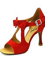 abordables -Femme Chaussures Latines Matière synthétique Talon Talon Bobine Chaussures de danse Noir / Jaune / Rouge foncé