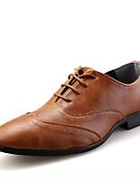baratos -Homens Sapatos Confortáveis Couro Ecológico Outono Negócio Oxfords Use prova Preto / Marron / Vinho
