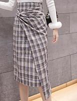 Недорогие -женский выход на юбку карандаша длиной до колена - цветной блок