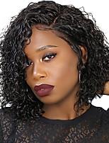 Недорогие -человеческие волосы Remy Полностью ленточные Лента спереди Парик Бразильские волосы Афро Квинки Loose Curl Черный Парик Ассиметричная стрижка 130% 150% 180% Плотность волос / Природные волосы