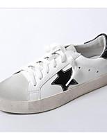 Недорогие -Жен. Комфортная обувь Наппа Leather Осень Кеды На плоской подошве Закрытый мыс Белый