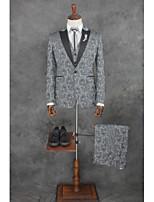 abordables -Avec motifs Coupe Sur-Mesure Coton / Polyester Costume - Cranté Droit 1 bouton