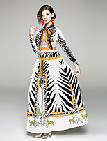 baratos -Mulheres Vintage / Boho Bainha / balanço Vestido - Laço / Estampado, Animal Longo Preto & Branco