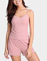 abordables -U Profond Costumes Pyjamas Femme Couleur Pleine