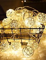 abordables -2m Guirlandes Lumineuses 10 LED Blanc Chaud Décorative Piles AA alimentées 1 set