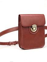Недорогие -Жен. Мешки PU Мобильный телефон сумка Сплошной цвет Черный / Коричневый