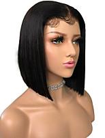 Недорогие -Remy Лента спереди Парик Бразильские волосы Прямой Парик Стрижка боб 150% Плотность волос с детскими волосами Природные волосы Парик в афро-американском стиле Жен. Короткие