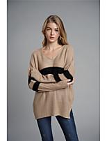 Недорогие -Жен. Классический Пуловер - Контрастных цветов, Пэчворк
