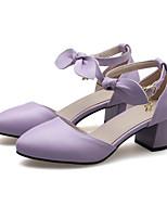 Недорогие -Жен. Комфортная обувь Полиуретан Весна Обувь на каблуках На толстом каблуке Белый / Розовый