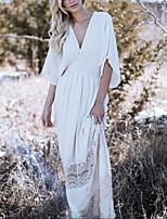 Недорогие -Жен. Классический Погруженный декольте Белый Пляжные шорты Накидка Купальники - Однотонный Один размер / Сексуальные платья