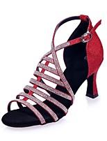 abordables -Femme Chaussures Latines Matière synthétique Sandale Boucle / Détail Cristal Talon Bobine Chaussures de danse Marron / Rouge / Bleu