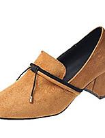 Недорогие -Жен. Балетки Полиуретан Осень На каждый день Обувь на каблуках Блочная пятка Бант Черный / Коричневый / Повседневные