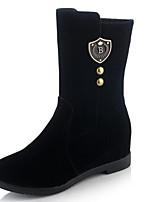 Недорогие -Жен. Fashion Boots Замша Зима Ботинки На низком каблуке Закрытый мыс Ботинки Черный / Красный