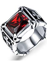 abordables -Homme Rouge Zircon cubique Solitaire Anneau de bande Bague - Inoxydable Croix Rétro, Punk 7 / 8 / 9 / 10 / 11 Rouge Pour Vacances Anniversaire