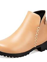 Недорогие -Жен. Fashion Boots Полиуретан Осень Ботинки На толстом каблуке Закрытый мыс Ботинки Черный / Коричневый / Миндальный