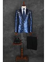abordables -Avec motifs Coupe Sur-Mesure Polyester Costume - Cranté Droit 1 bouton