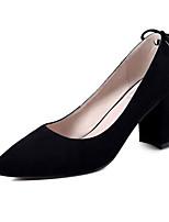Недорогие -Жен. Балетки Замша Осень Обувь на каблуках На толстом каблуке Черный / Серый / Коричневый