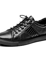 Недорогие -Муж. Кожаные ботинки Наппа Leather Осень Винтаж / На каждый день Кеды Нескользкий Черный