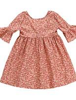 Недорогие -Дети (1-4 лет) Девочки Цветочный принт Рукав до локтя Платье