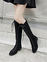 baratos -Mulheres Sapatos Confortáveis Couro Ecológico Inverno Botas Salto Robusto Botas Cano Médio Preto / Khaki