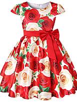 Недорогие -Дети / Дети (1-4 лет) Девочки Цветочный принт / Контрастных цветов С короткими рукавами Платье