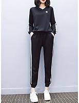 baratos -Mulheres Moda de Rua Conjunto Listrado Calça