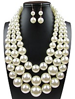 billiga -Dam Klassisk Smyckeset - Oäkta pärla Lyx, Elegant Omfatta Brud Smyckeset Vit Till Bröllop Party
