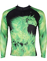 abordables -ILPALADINO Homme Manches Longues Maillot de Cyclisme - Vert Mode Cyclisme Hauts / Top Hiver, Elasthanne