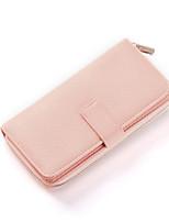 Недорогие -Жен. Мешки PU Бумажники Молнии Красный / Розовый / Миндальный