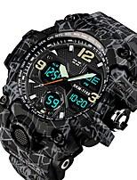 Недорогие -SKMEI Муж. Для пары Армейские часы Цифровой 50 m Защита от влаги Календарь Секундомер PU Группа Аналого-цифровые На каждый день Мода Черный - Серый Синий Черный / серый
