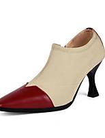 Недорогие -Жен. Комфортная обувь Наппа Leather Наступила зима Обувь на каблуках Блочная пятка Черный / Винный / Телесный