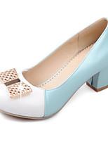 Недорогие -Жен. Комфортная обувь Полиуретан Осень Обувь на каблуках На толстом каблуке Белый / Синий / Розовый