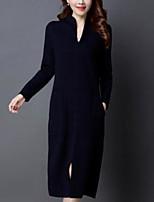 Недорогие -женский выезд белье тонкий свитер / оболочка платье midi экипаж шеи