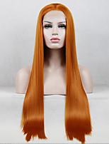 Недорогие -Синтетические кружевные передние парики Жен. Прямой Золотистый Свободная часть 180% Человека Плотность волос Искусственные волосы 18-26 дюймовый Регулируется / Кружева / Жаропрочная Золотистый Парик