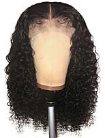 Недорогие -Remy Лента спереди Парик Бразильские волосы Прямой Мелкие кудри Парик Стрижка боб 150% Плотность волос с детскими волосами Природные волосы Парик в афро-американском стиле Жен. Короткие