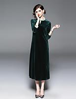 Недорогие -Жен. Винтаж С летящей юбкой Платье - Однотонный, Вышивка Средней длины