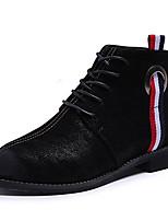 Недорогие -Жен. Fashion Boots Полиуретан Наступила зима На каждый день Ботинки На низком каблуке Круглый носок Ботинки Черный / Коричневый