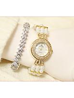 abordables -Femme Montre Bracelet Quartz Imitation de diamant Bande Analogique Mode Blanc - Or Argent / Acier Inoxydable