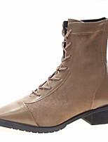 Недорогие -Жен. Армейские ботинки Полиуретан Наступила зима На каждый день Ботинки На низком каблуке Круглый носок Сапоги до середины икры Черный / Хаки