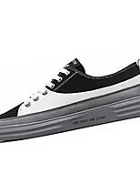 abordables -Homme Chaussures de confort Toile / Polyuréthane Automne Décontracté Basket Ne glisse pas Couleur Pleine Blanc / Noir