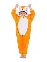 abordables -Enfant Pyjamas Kigurumi Renard Combinaison de Pyjamas Flanelle Orange Cosplay Pour Garçons et filles Pyjamas Animale Dessin animé Fête / Célébration Les costumes