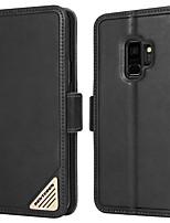 Недорогие -BENTOBEN Кейс для Назначение SSamsung Galaxy S9 Защита от удара / со стендом / Флип Чехол Однотонный Твердый Настоящая кожа / ПК для S9